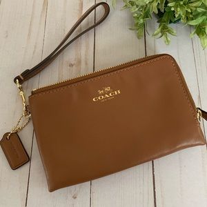 Coach wallet wristlet double zip brown leather